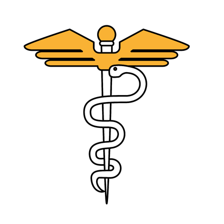 Caduceus icon medical health care and hospital theme Isolated design Vector illustration Vector Illustration