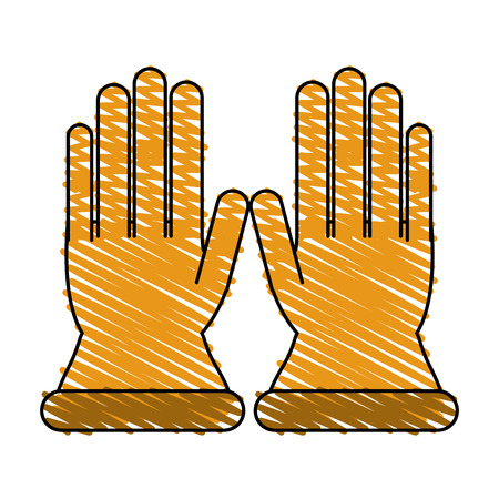 Gloves icon Industrial security safety and protection theme Isolated design Vector illustration Illustration