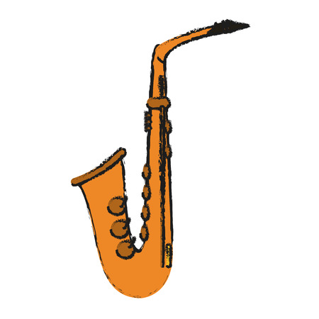 Saxophone icon of instrument music and sound theme Isolated design Vector illustration