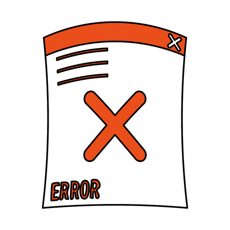 Error document icon of warning alert and failure theme Isolated design Vector illustration