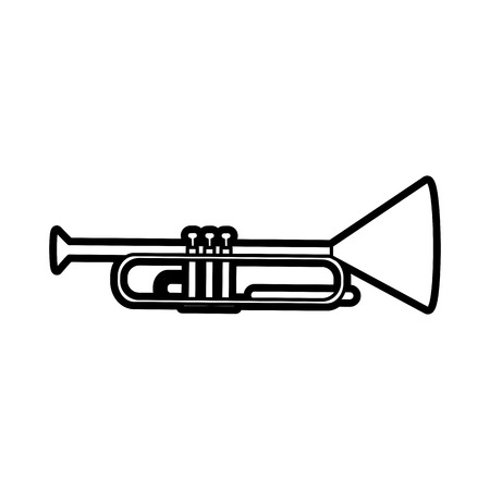 Trumpet icon of instrument music and sound theme Isolated design Vector illustration