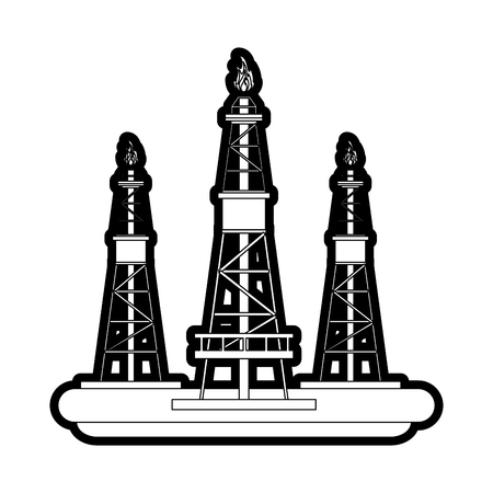 Gas tower of power energy and fuel theme Isolated design Vector illustration