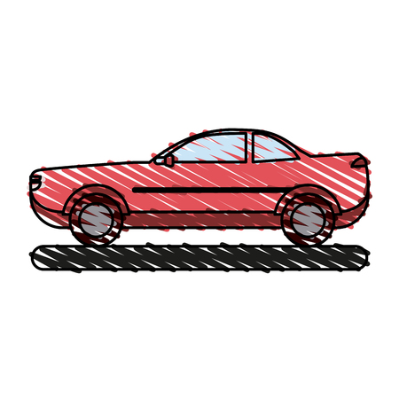 Red car of automobile transportation and vehicle theme Isolated design Vector illustration Illustration