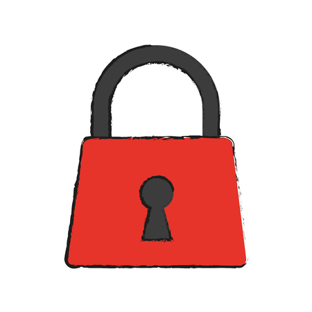 Padlock icon Security system warning and protection theme Isolated design Vector illustration