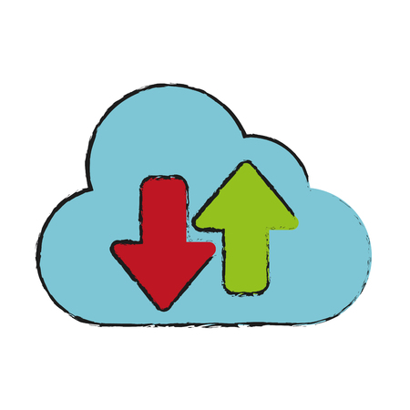 Cloud computing of download storage and technology theme Isolated design Vector illustration