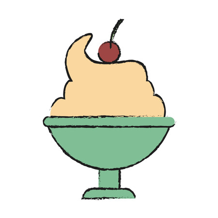 Ice cream of sweet dessert and food theme Isolated design Vector illustration