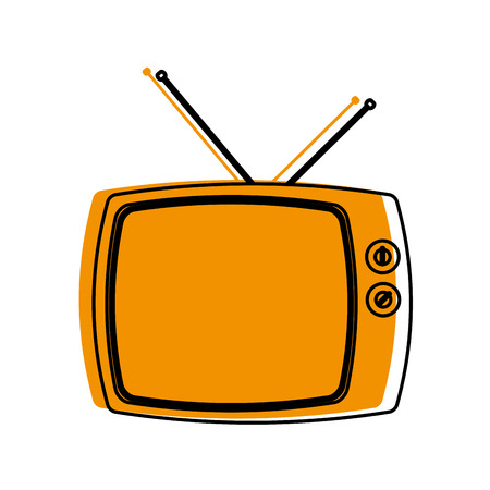 Retro television of vintage video and technology theme Isolated design Vector illustration