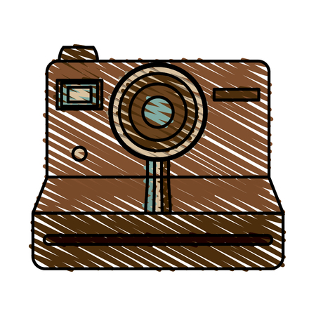 Retro camera of device gadget and technology theme Isolated design Vector illustration Illustration