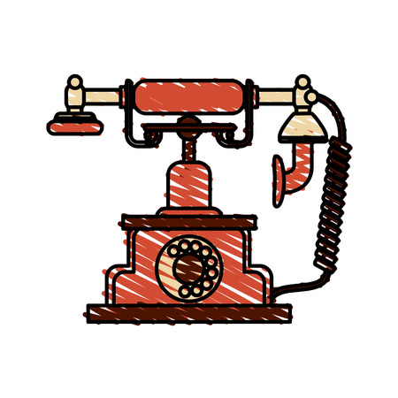 Retro phone of vintage call and telephone  theme Isolated design Vector illustration