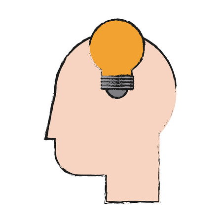 Head and light bulb icon of big idea and creativity theme Isolated design Vector illustration Illustration