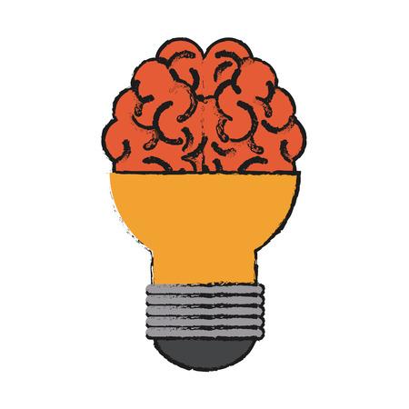 Brain and light bulb icon of big idea and creativity theme Isolated design Vector illustration