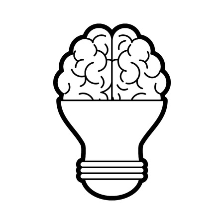 Brain and light bulb icon of big idea and creativity theme Isolated design Vector illustration