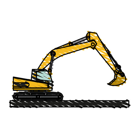 Excavator of under construction and repair theme Isolated design Vector illustration Illustration