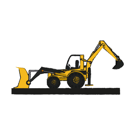 Wheel loader of under construction and repair theme Isolated design Vector illustration