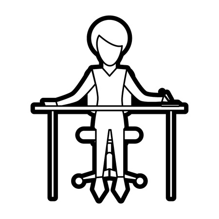 Woman at desk of girl female person people and human theme Isolated design Vector illustration