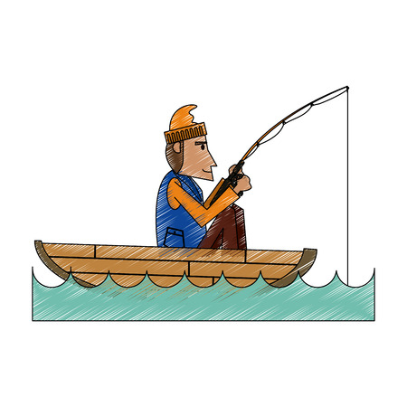 recreational: Fisherman inside boat of fishing catch and hobby theme Isolated design Vector illustration