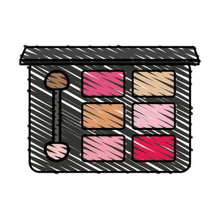 アクセサリーや化粧品テーマ分離デザイン ベクトル イラスト メイクアップのアイシャドウ