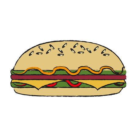 Sandwich of fast food urban and menu theme Isolated design Vector illustration