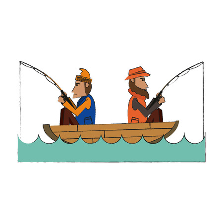 Fisherman inside boat of fishing catch and hobby theme Isolated design Vector illustration