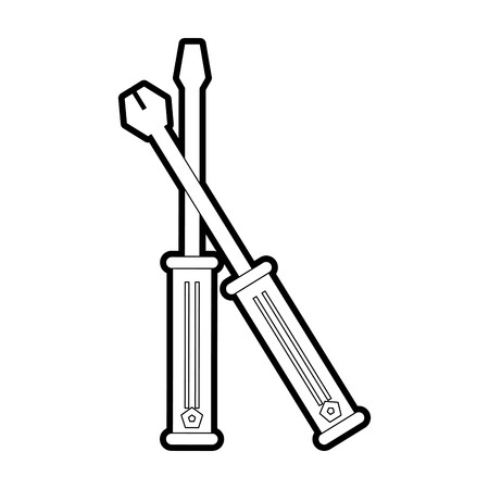 install: Screwdriver icon tool instrument and repair theme Isolated design Vector illustration