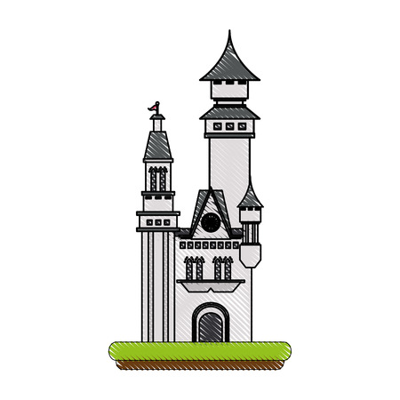 Castle of palace medieval and fairytale theme Isolated design Vector illustration