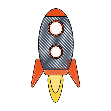 Rocket icon Spaceship aircraft and start up theme Isolated design Vector illustration