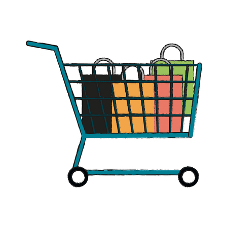 paying: Cart of shopping commerce and market theme Isolated design Vector illustration Illustration