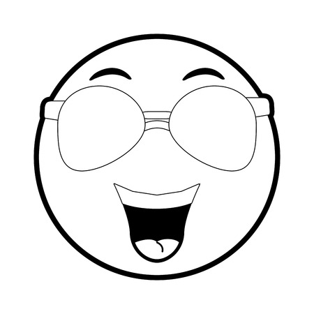 Funny cartoon face icon Emoticon caricature and character theme Isolated design Vector illustration