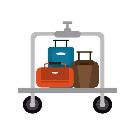 suitcases on luggage cart hotel related icon image vector illustration design Illustration