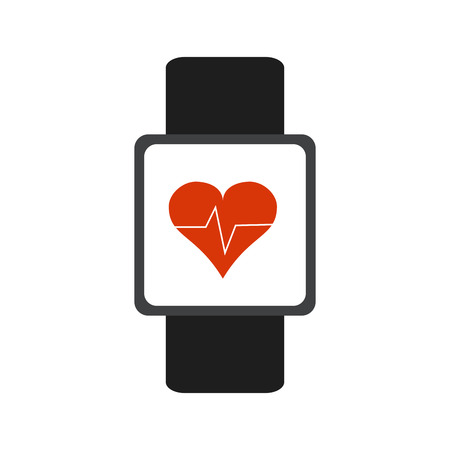heart rate wrist monitor fitness band icon image vector illustration design Illustration