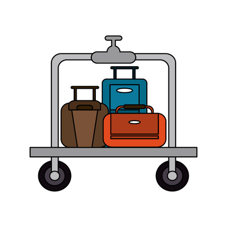 Suitcases on luggage cart hotel related icon image vector illustration design. Illustration