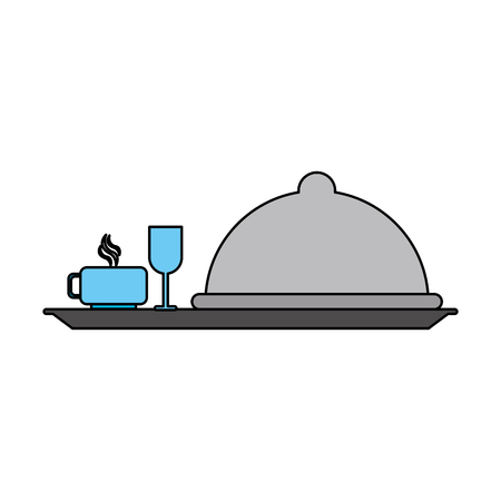 covered silver tray hotel room service related icon image vector illustration design Illustration