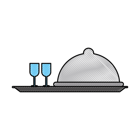 serving tray: Restaurant dish dome icon vector illustration graphic design Illustration