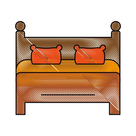 Bed interior room icon vector illustration graphic design Illustration