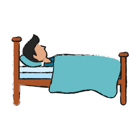 bedstead: Bed interior room icon vector illustration graphic design Illustration