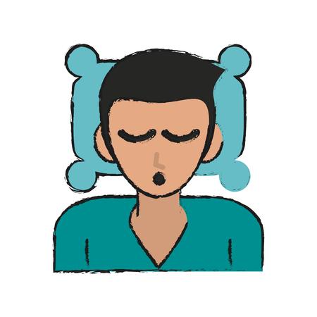 Man cartoon sleeping icon vector illustration graphic design