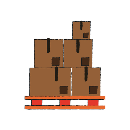Boxes on stowage icon vector illustration graphic design