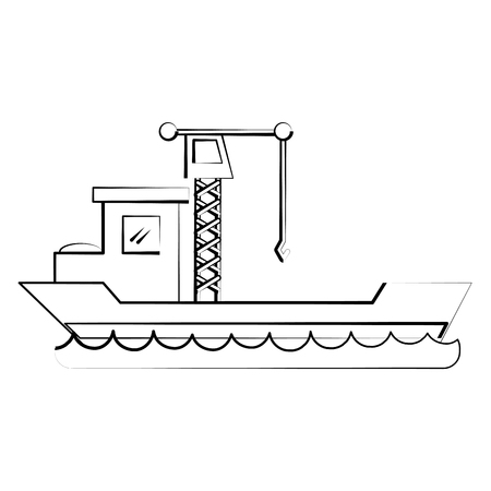 Freight ship boat icon vector illustration graphic design Иллюстрация