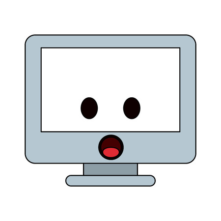 computer monitor kawaii style icon image vector illustration design