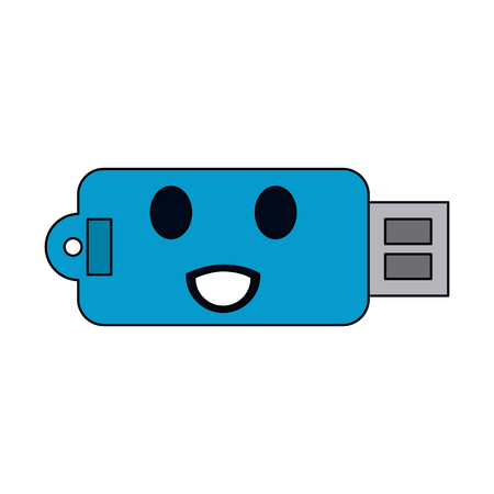 usb memory device kawaii style icon image vector illustration design