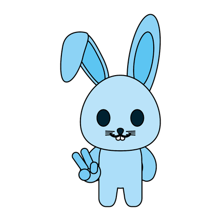 rabbit or bunny peace cute animal icon image vector illustration design