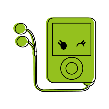portable music player  icon image vector illustration design  green color Illustration