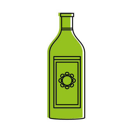 liquour bottle with sun on label icon image vector illustration design  green color Illustration