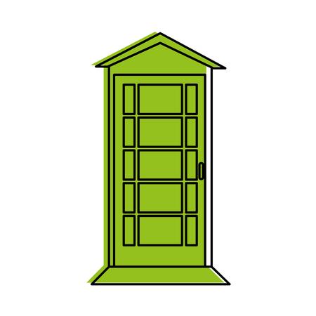 telefooncel londen gerelateerd pictogram afbeelding vector illustratie ontwerp groene kleur