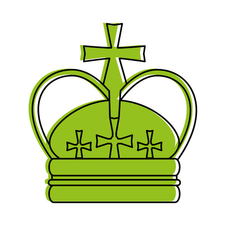 crosses: royal crown with crosses icon image vector illustration design  green color