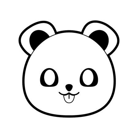 bear cute animal icon image vector illustration design  black and white