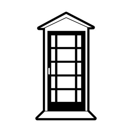 telefooncel Londen gerelateerde pictogram afbeelding vector illustratie ontwerp zwart en wit