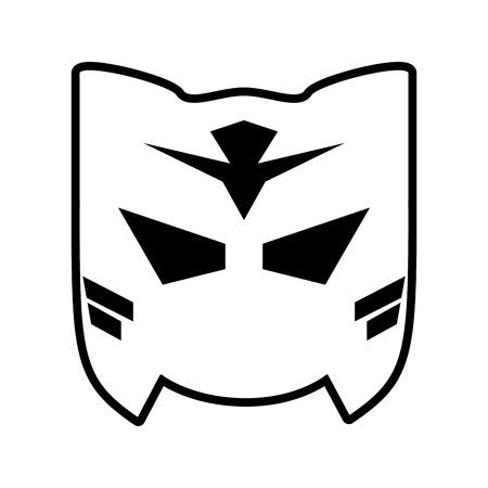 mask superhero icon image vector illustration design  black and white
