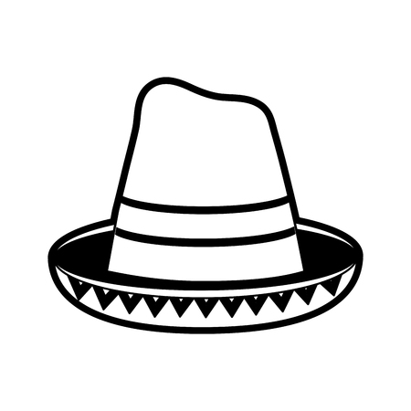 traditional hat mexican culture icon image vector illustration design  black and white