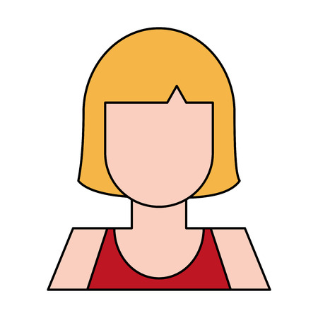 blonde woman with red sleeveless top portrait avatar icon image vector illustration design